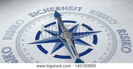 3d render of blue and gray German language compass pointed to the word sicherheit (safety), for concept about certainty or probable success with risk