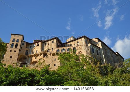 Religious Architecture - A monastery in the valley of the Benedictine monasteries in Subiaco in Lazio - Italy