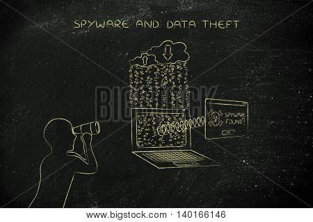 man with binoculars spying on data trasmission from a laptop to cloud and pop-up with Spyware found message