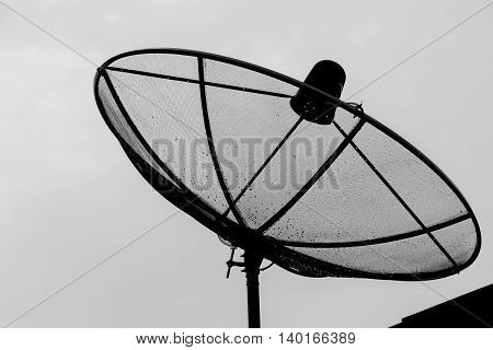 Close up satellite dish on white background