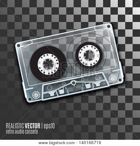 Retro audio cassete, vector illustration with a transparent body