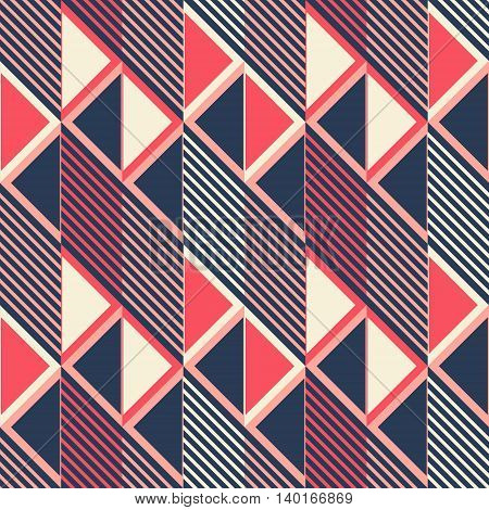 Abstract seamless pattern in retro colors. Parallelogram tiles filled with diagonal lines alternate with ones filled with triangles. Stylish geometric print. Vector illustration for modern design