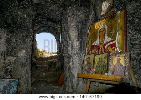 25 may 2016.In Ayia NAPA.The grotto with the icon near the Church of St. Thekla in Ayia NAPA . Cyprus.