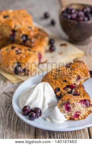 Homemade Scones With Berries And Cream.