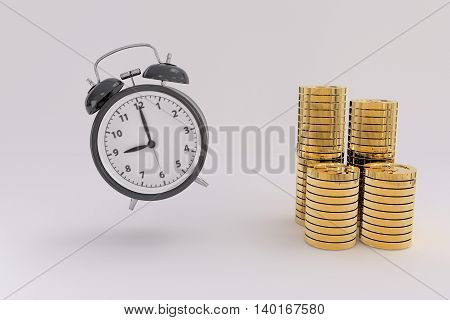 3D rendering of flying alarm clock and golden coins in white background