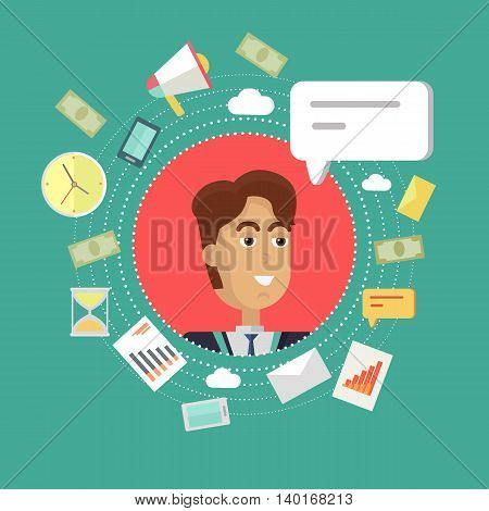 Avatar of men with devices for communication. Smiling young man personage in flat on red background. Vector illustration.
