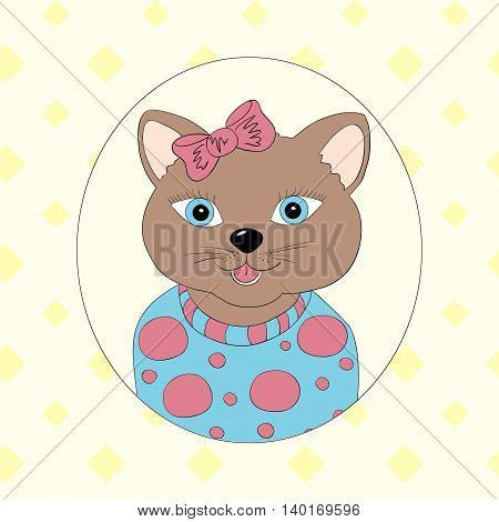 Cat with pink bow. Print for children's clothing books postcards