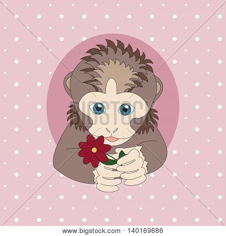 Light brown monkey holding a red flower. Print for cards children's books clothes