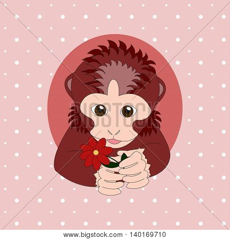Monkey holding a red flower. Print for cards children's books clothes
