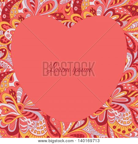floral doodle ethnic pattern heart frame rosy for inscriptions photo. Cards labels packaging