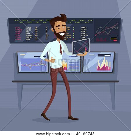 Business success illustration. Flat Design. Growth of value indexes. Good day on the stock exchange concept. Happy smiling man with tablet enjoying his success. Modern online trading technology.