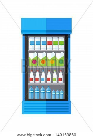 Blue showcase refrigerator for cooling drinks in bottles. Different colored bottles in blue drinks fridge. Fridge dispenser cooling machine. Isolated object in flat design on white background.