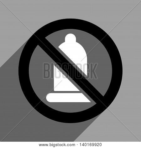 Forbidden Condom long shadow vector icon. Style is a flat forbidden condom black and white iconic symbol on a gray square background.