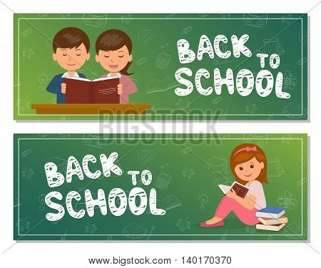 Back to school. Two isolated horizontal banner with the students. Can be used as a template for the bookmark, web header, banner and flyer.
