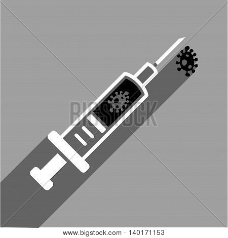 Infection Injection long shadow vector icon. Style is a flat infection injection black and white iconic symbol on a gray square background.