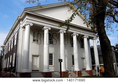 Nantucket Island Massachusetts - October 12 2008: Greek Revival west front of 1827 Trinity Church on Centre Street