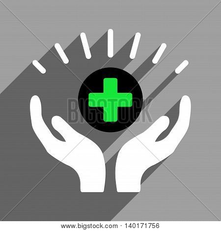 Medical Prosperity long shadow vector icon. Style is a flat medical prosperity black and white iconic symbol on a gray square background.