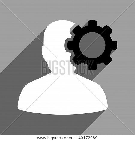 Migraine long shadow vector icon. Style is a flat migraine black and white iconic symbol on a gray square background.
