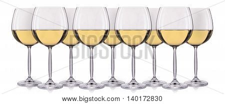 Set of white wine in a glass isolated on white background.