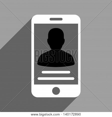 Patient Mobile Account long shadow vector icon. Style is a flat patient mobile account black and white iconic symbol on a gray square background.