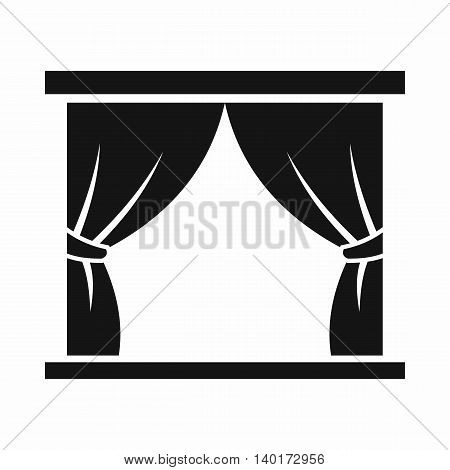 Curtain on stage icon in simple style isolated on white background. Theatre symbol