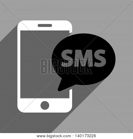 Phone SMS long shadow vector icon. Style is a flat phone sms black and white iconic symbol on a gray square background.