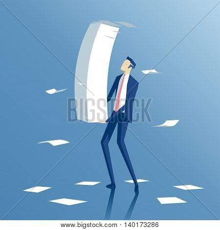employee carries a large stack of papers and sheets of paper fly business concept paper work and workload