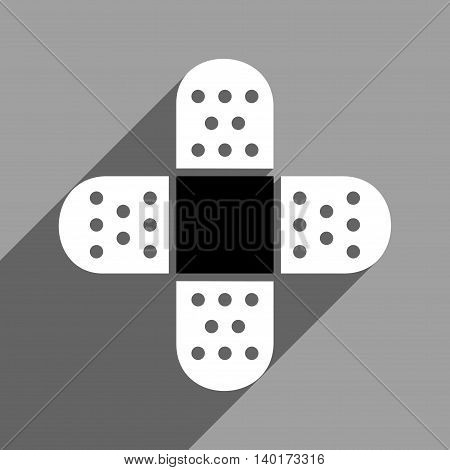 Plaster Cross long shadow vector icon. Style is a flat plaster cross black and white iconic symbol on a gray square background.
