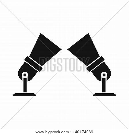 Floodlights icon in simple style isolated on white background. Lighting symbol