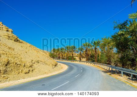 The automobile road between two sections of Ein Gedi Nature Reserve Israel.