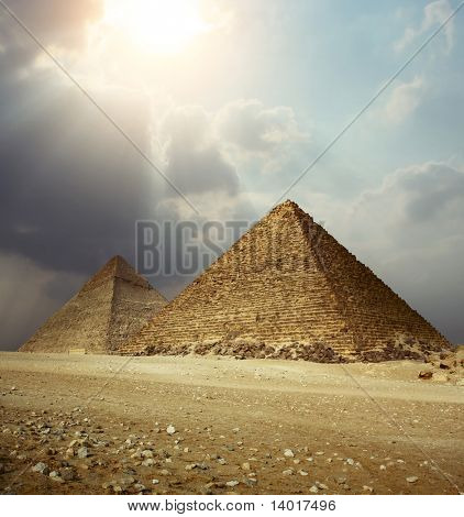 Sunlight over Giza pyramids. Egypt