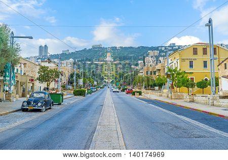 HAIFA ISRAEL - FEBRUARY 20 2016: The Ben Gurion Boulevard is completely empty in the early morning on February 20 in Haifa.
