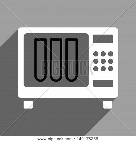 Sterilizer long shadow vector icon. Style is a flat sterilizer black and white iconic symbol on a gray square background.