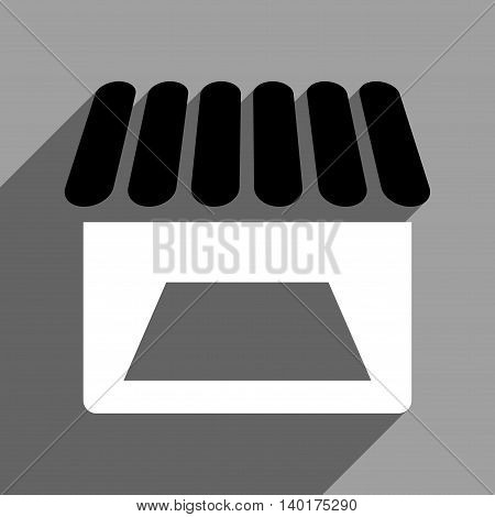 Store Facade long shadow vector icon. Style is a flat store facade black and white iconic symbol on a gray square background.