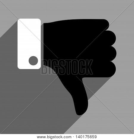 Thumb Down long shadow vector icon. Style is a flat thumb down black and white iconic symbol on a gray square background.