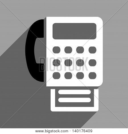 Fax long shadow vector icon. Style is a flat fax black and white iconic symbol on a gray square background.