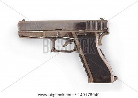 Old Glock 17 Pistol Lighter 9x19 isolated on white background with soft shadow (Clipping path)