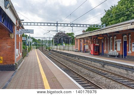 Pangbourne/UK. 10th July 2016. The electrification of this section of the Great Western mainline is now complete. Electric trains are due to commence operations in 2019.