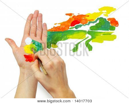 Hand with brush and paints on other hand like a palette