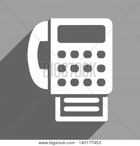 Fax long shadow vector icon. Style is a flat fax white iconic symbol on a gray square background.