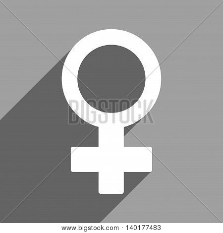 Female Symbol long shadow vector icon. Style is a flat female symbol white iconic symbol on a gray square background.