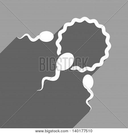 Fertilization long shadow vector icon. Style is a flat fertilization white iconic symbol on a gray square background.