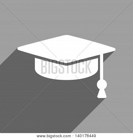 Graduation Cap long shadow vector icon. Style is a flat graduation cap white iconic symbol on a gray square background.