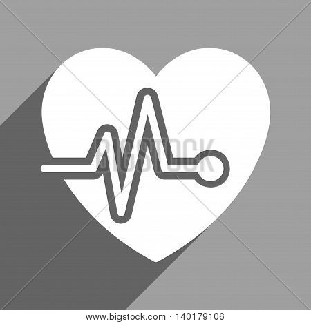 Heart Pulse long shadow vector icon. Style is a flat heart pulse white iconic symbol on a gray square background.