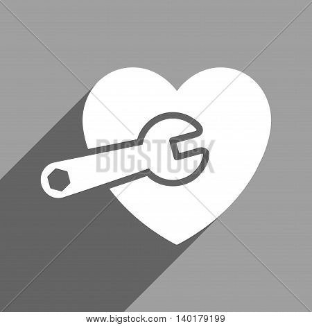 Heart Surgery long shadow vector icon. Style is a flat heart surgery white iconic symbol on a gray square background.