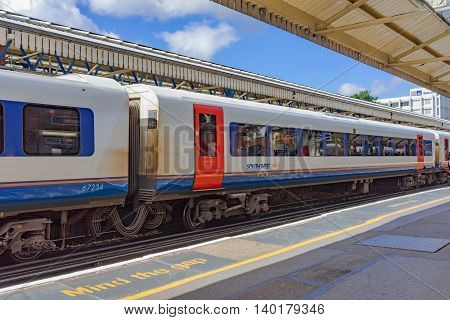 Basingstoke/UK. 3rd July 2016.A class 444 Desiro EMU train is ready to depart Basingstoke for London Waterloo. These trains are the long distance express commuter services between London and the South West.