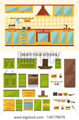 Interior kitchen creation with design of room for cooking set of cabinets utensils equipment isolated vector illustration