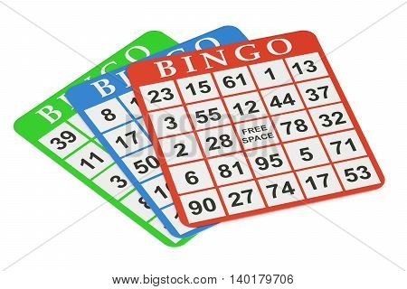 bingo cards 3D rendering isolated on black background