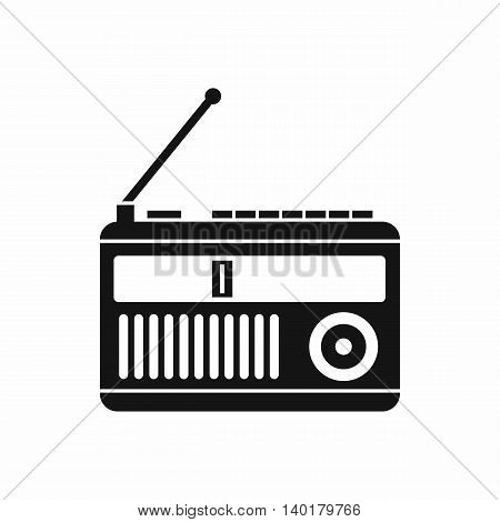 Retro radio icon in simple style isolated on white background. Listening music symbol