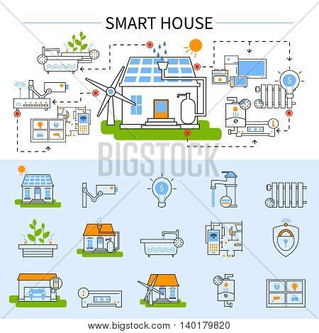 Smart house flat concept in linear style with technology colored and isolated icon set at the bottom vector illustration